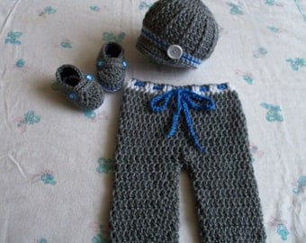Crochet Baby Boy Hat, Booties and Long Pants Set, Photo Prop (0-3 Months)