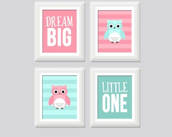 Baby Girl Owl Nursery Art Set of 4, Pink and Aqua Owl Nursery Decor, Dream Big Little One Owl Prints, Girl Owl Nursery Print Kids Wall Art