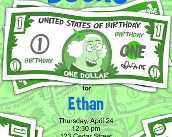 Dollar Bills Money Birthday Invitation - printable design, customizable, instant download For Boys or Girls Money or Finance Party