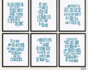 Harry Potter Dumbledore Quotes 6 Print Poster Collection Teen Bedroom Wall Decor