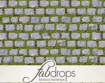 Cobble Stone & Grass Backdrop Floor Photo Backdrop / Stone and Grass Photography Floor Drop (FD0804)