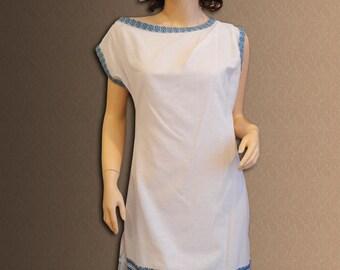 Ukrainian Embroidery. Short embroidered women's dress. Size xxs, xs, s,m.