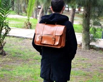 Sac messager en cuir - 15 pouces sac pour ordinateur portable - Breafcase de cuir couleur tabac - sac à dos en cuir - sac d'ordinateur portable - sac d'école