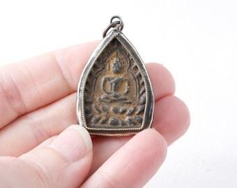 Antiqued Brass and Bronze Heavy Buddha Pendant Talisman Charm metal Patina boho pendant 40mm Framed buddha in dark brass