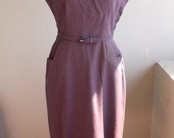 Vintage 1950 Deep Plum Rayon Sheath Wiggle Dress with Pockets and Original Belt. Small