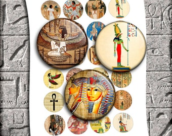 "Egyptian Art Circle Bottle cap images 1"" 20mm 25mm, 30mm, 1.5"" Printable Images Digital Collage Sheet Instant Download"