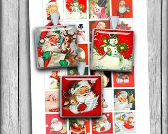 "Vintage Christmas Square Images 1x1 inch, 1.5"", 1/2""  for Jewelry Making, Scrapbooking Printable Digital Collage Sheet Instant Download"