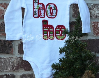 "Appliqué ""Ho Ho"" Bodysuit, twelve month size, long sleeve, red and green pattern, gender neutral, Christmas bodysuit - perfect for Christmas"
