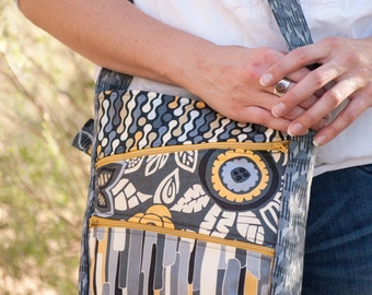 Sewing Pattern: Zippy Bag PDF pattern with zipper closure, exterior pockets, and messenger style strap, cross body sewing pattern by Jen Fox