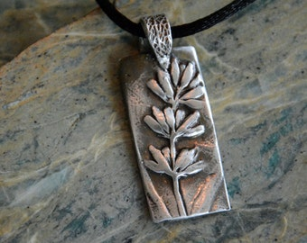 Fine Silver Pendant Necklace With Delicate Lavender Sprig: welcome summer with style