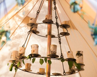 Bell Tent Chandelier - Iron - Handmade - Holds 18 Candles