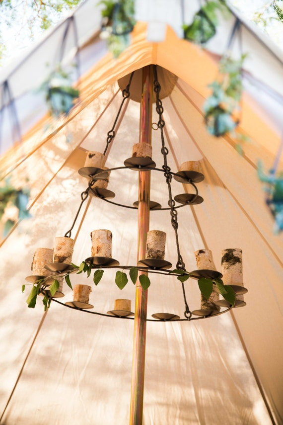 Bell Tent Chandelier Iron Handmade Holds 18 Candles