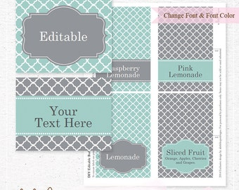 EDITABLE Instant Download - Quatrefoil Buffet Label Cards, Tent Card, Food Label, Teal and Gray