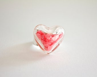 Glass Heart Ring With Pink Heart Confetti - Glass Terrarium Ring