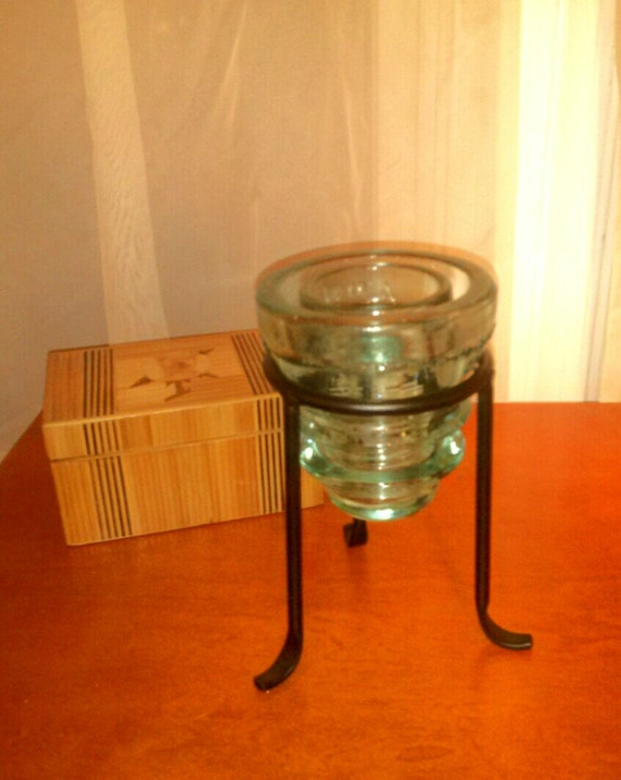 repurposed glass insulator to candle holder antique aqua