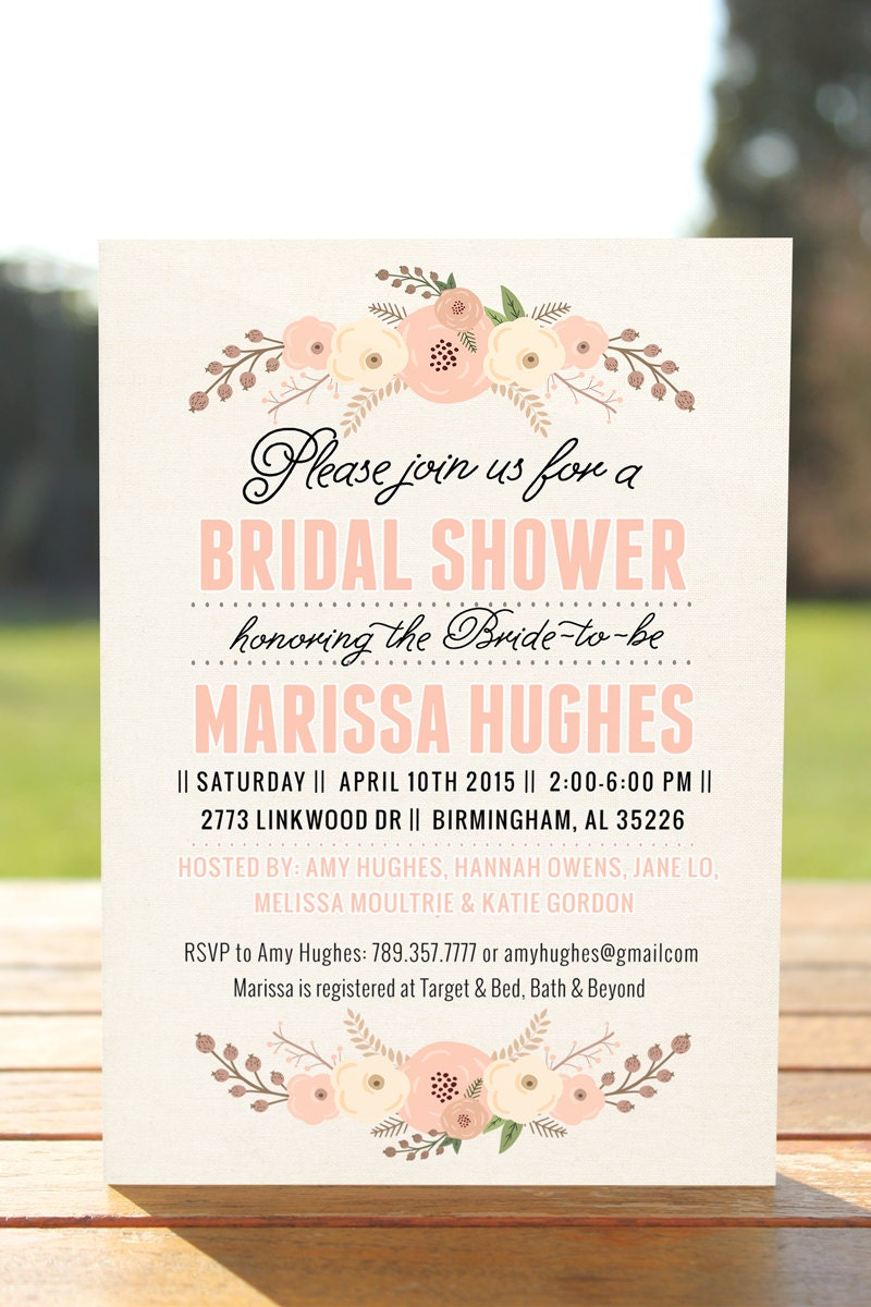Unique bridal shower invitation bridal shower invite for How to make bridal shower invitations