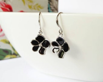 Black flower earrings, silver black earrings, black dangle earrings, cute earrings, flower dangle earrings, gift for her, sakura earring