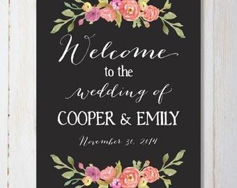 Chalkboard Wedding Welcome Sign, 16 x 20 printable