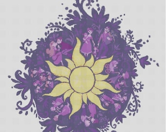 Counted Cross Stitch Pattern, Disney, Rapunzel sun symbol, Tangled, Instant Download, PDF Pattern