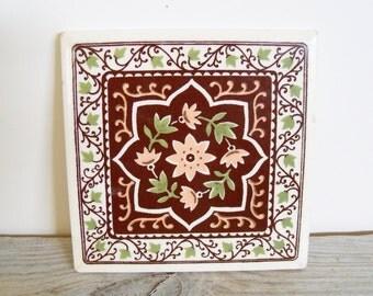 Vintage Ceramic Tile Trivet Wall Decor Peach Ceramic Tile Ivy Leaves Vintage Retro Kitchen Automatic Controls Corporation 1950s