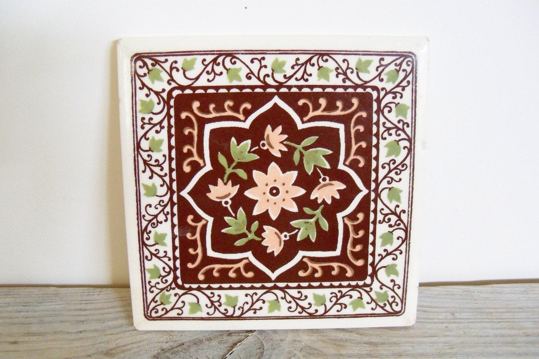 Vintage Ceramic Tile Trivet Wall Decor Peach Ceramic Tile Ivy