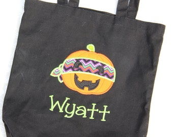 Personalized Ninja pumkin halloween tote - Candy Bucket - Trick or Treat Tote