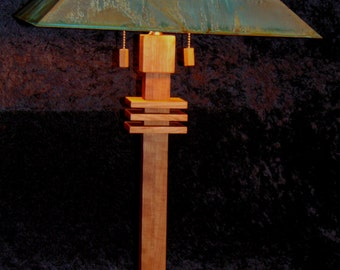 Modern /Contemporary 28' tall table lamp cherry   and a green copper patina shadeshade