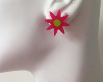 Flower Earrings - Bright Pink & Lime Green Acrylic Flower Earrings with Sterling Silver Posts. Laser cut perspex, pleixiglass.