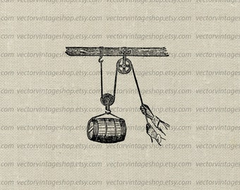 Barrel Pulley Vector Graphic Instant Download Clipart, Simple Machine Antique Tool Industrial Mechanical Victorian Illustration WEB1759AJ