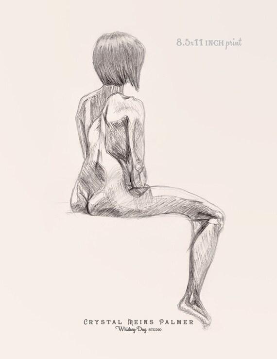 6 dessins de femmes nues esquisses au fusain - vectanimfr