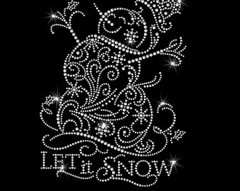 Let It Snow Snowman Snowflake Iron on HotFix Rhinestone Bling Heat Transfer