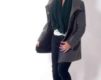 Jade Chunky Handmade Crochet Scarf - Loosely Stitched Chunky Cowl