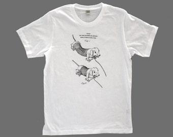 men's patent drawing t-shirt, screen printed t-shirt, alternative apparel t-shirt,SLINKY DOG t-shirt, patent drawing