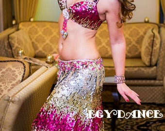 belly dancing costume - professional belly dance costume ,Sequins fabric colored