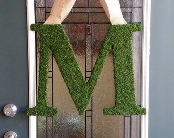"Moss Letter 18"",Front Door Moss Initial Wreath,4 Fonts Available,Church Door Letters,Rustic Wedding Monogram Decor,Initial Photo Prop"