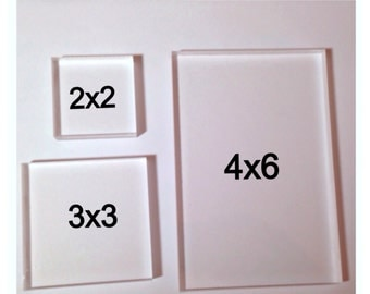 3 x 3 inch Acrylic Stamping Block - 1/2 Inch Thick Acrylic Mount for Rubber Stamps