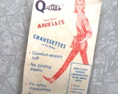 1960s NOS Vintage Nylon Ankle Socks Sophisti Quettes Nude Sheer Stockings