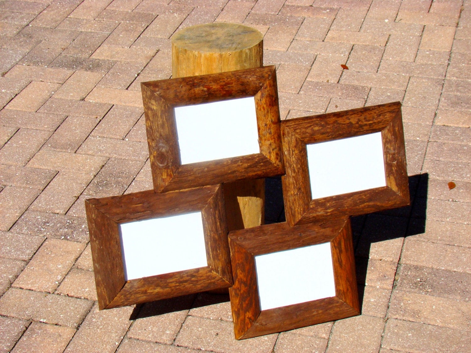 4 opening picture frame for 4x6 photos or 5x7 photos rustic. Black Bedroom Furniture Sets. Home Design Ideas