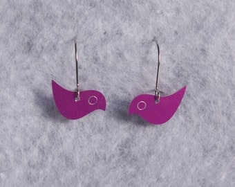Tiny Bird Earrings are fun colorful lightweight delicate aluminum jewelry, textured or shiny, hypoallergenic ear wires, Alabama metalsmith