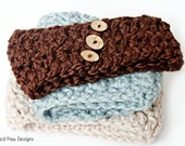 Crochet Pattern ~ Ear Warmer - 2 Sizes - Child and Adult - Chunky Button Headband
