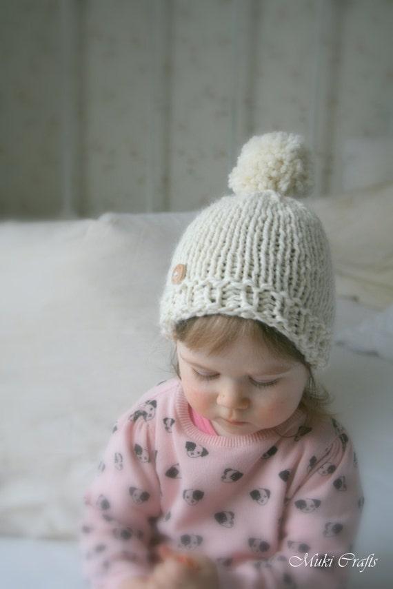 Basic Baby Hat Knitting Pattern : KNITTING PATTERN basic beanie pompom hat Harper baby by ...