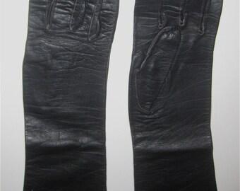 Vintage Gloves Black Italian Leather