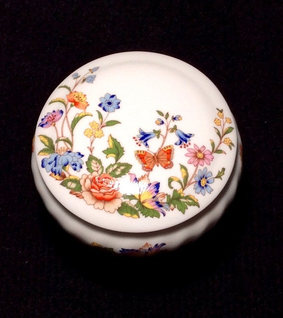 AYNSLEY Cottage Garden Trinket Box Bowl with Lid
