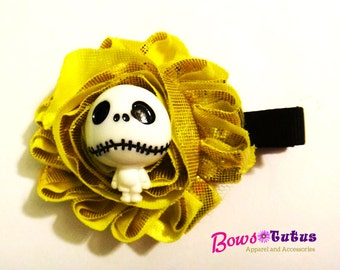 Nightmare before Christmas Gold Shabby flower Jack Skellington Hair Clip - photo prop