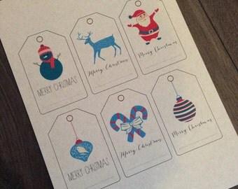 Printable Christmas Gift Tags - Retro Design