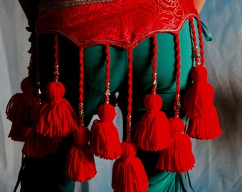 ATS Tribal Red tassel belt
