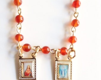 Brown Scapular Necklace, Light brown short gemstone Rosary, Gold Sacred Jesus Heart and Virgin Mary Pendant, catholic scapular, Escapulario