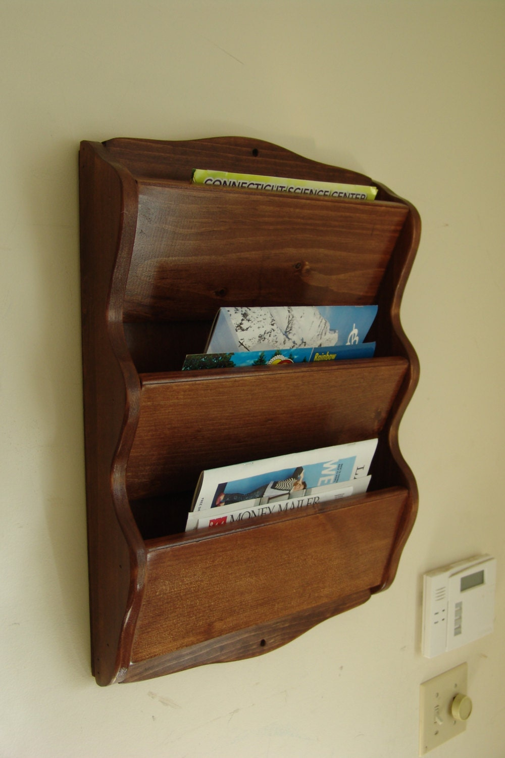 Wall mail organizer magazine rack 23 h handcrafted - Wooden letter holder wall mount ...