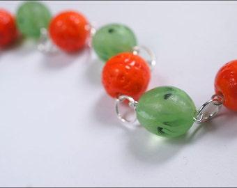 Orange and gooseberry bracelet - Great boho nature jewelry - Lampwork berries bijou