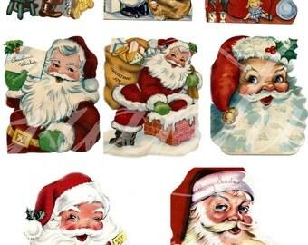 Vintage Santa Claus digital collage sheet ephemera images print scrapbook decoupage paper digital download clip art